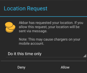 Location Request Warning for Target User